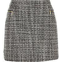 Black bouclé zip side pelmet skirt