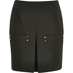 Khaki pleat front mini skirt