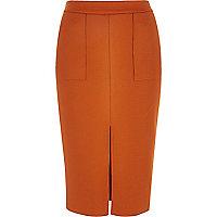 Deep orange split front pencil skirt
