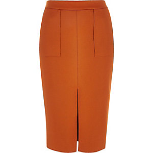 Deep orange split front pencil skirt