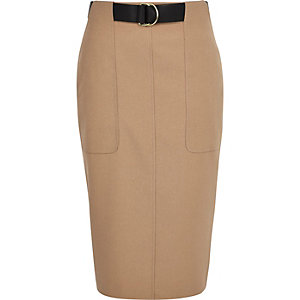 Beige utility pencil skirt