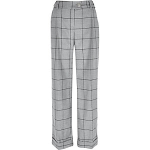 Grey check wide leg trousers