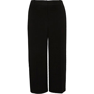 Black satin stripe culottes