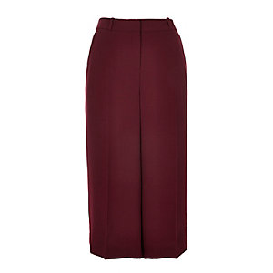 Dark red smart culottes