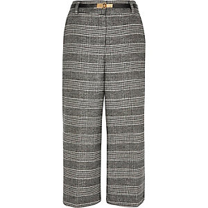 Grey houndstooth smart culottes