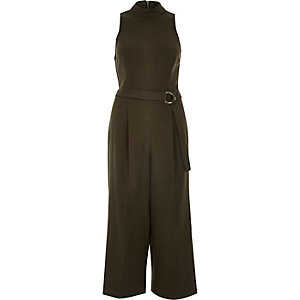 Khaki green D-ring culotte jumpsuit