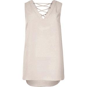 Light grey lattice back blouse