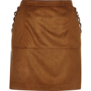 Tan faux suede whipstitch mini skirt