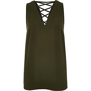 Khaki green lattice back vest