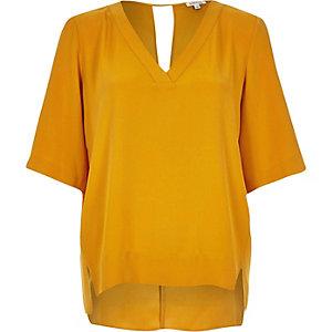Dark yellow V-neck t-shirt