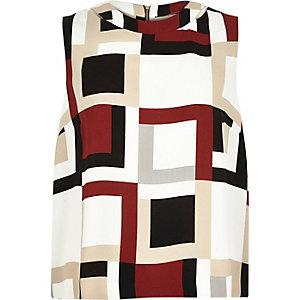 Cream geometric print sleeveless top