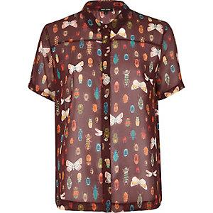 Brown sheer animal print blouse
