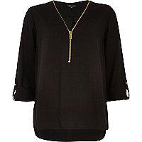 Black zip-up neck blouse