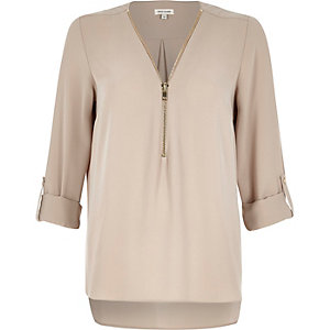 Light pink zip-up neck blouse