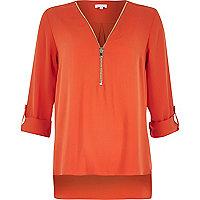 Orange zip-up neck blouse