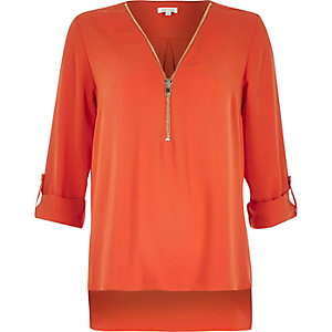 Orange zip-up neck blouse