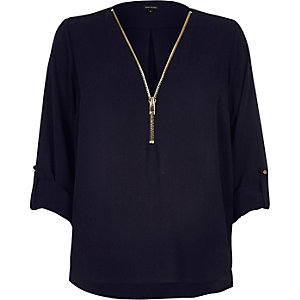 Navy blue zip-up neck blouse