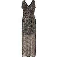 Black ditsy floral print maxi dress