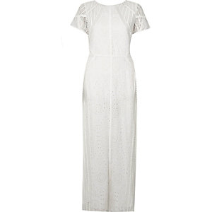 Cream embroidered short sleeve maxi dress