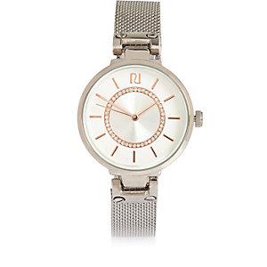 Silver tone minimal embellished watch