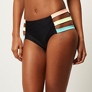 Black color block high rise bikini bottoms