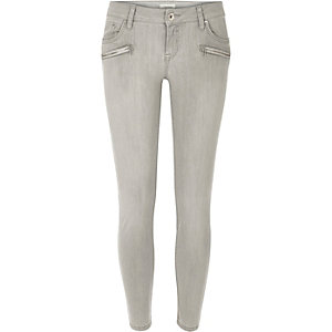 Light grey low rise Amelie superskinny jeans