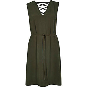 Khaki lattice lace-up back swing dress