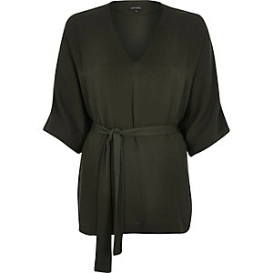 Khaki belted kimono top