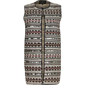 Black patterned vest