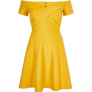 Yellow Dark Bardot Mustard Skater Dress