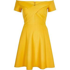 Yellow scuba bardot skater dress
