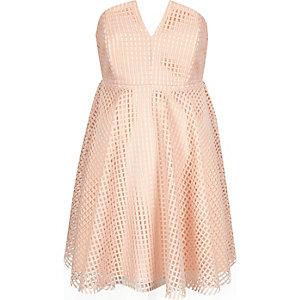 Light pink bandeau waisted prom dress