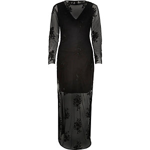 Black sheer embellished maxi dress