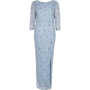 Light blue bead embellished maxi dress