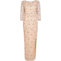 Light pink bead embellished maxi dress
