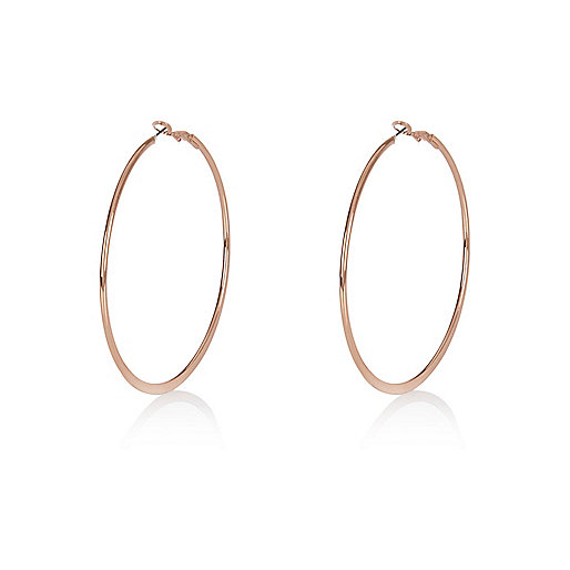 Rose gold flat hoop earrings