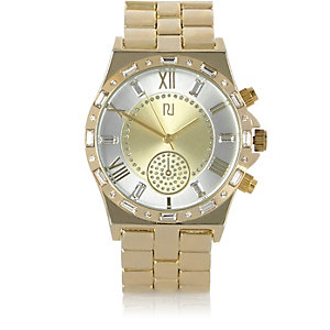 Gold tone baguette embellishment watch