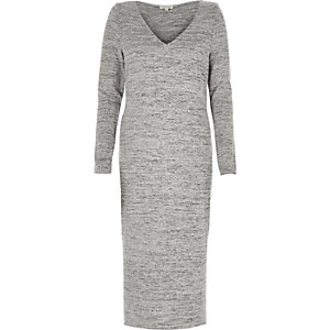 Grey marl brushed jersey V-neck maxi dress