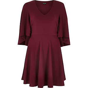 Dark red draped sleeve skater dress