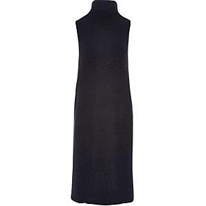 Dark blue knit sleeveless tabard