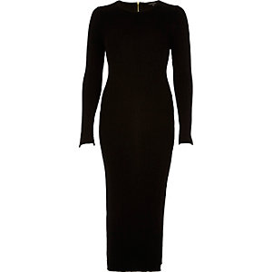 Black knit bodycon midi dress