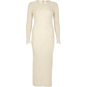Cream knitted bodycon midi dress