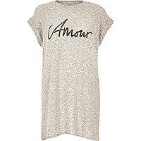 Beige amour slogan oversized t-shirt