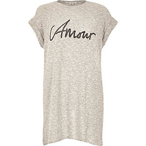 Beige amour slogan oversized t-shirt