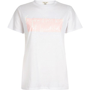 White beautiful slogan print fitted t-shirt