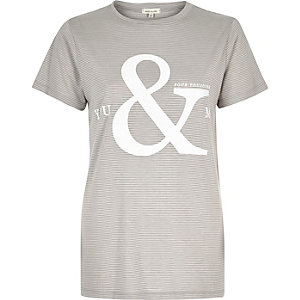 Grey stripe slogan print fitted t-shirt