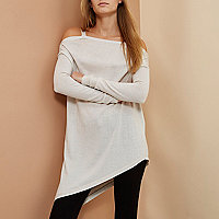 Beige RI Studio merino wool asymmetric sweater