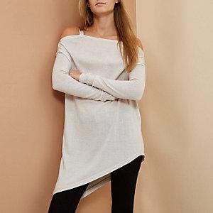 Beige RI Studio merino wool asymmetric jumper