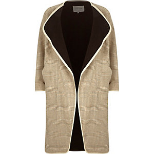 Brown wool-blend check draped coat