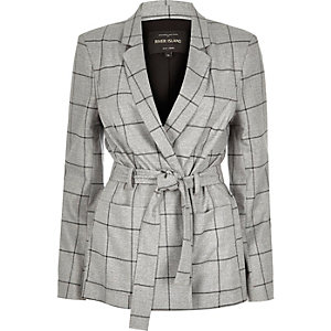 Grey check belted jacket